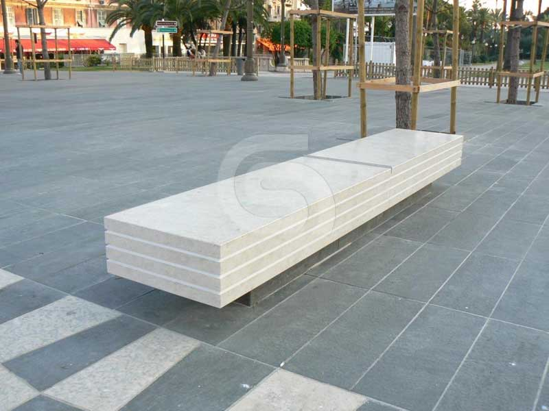 Portuguese limestone paving / benches
